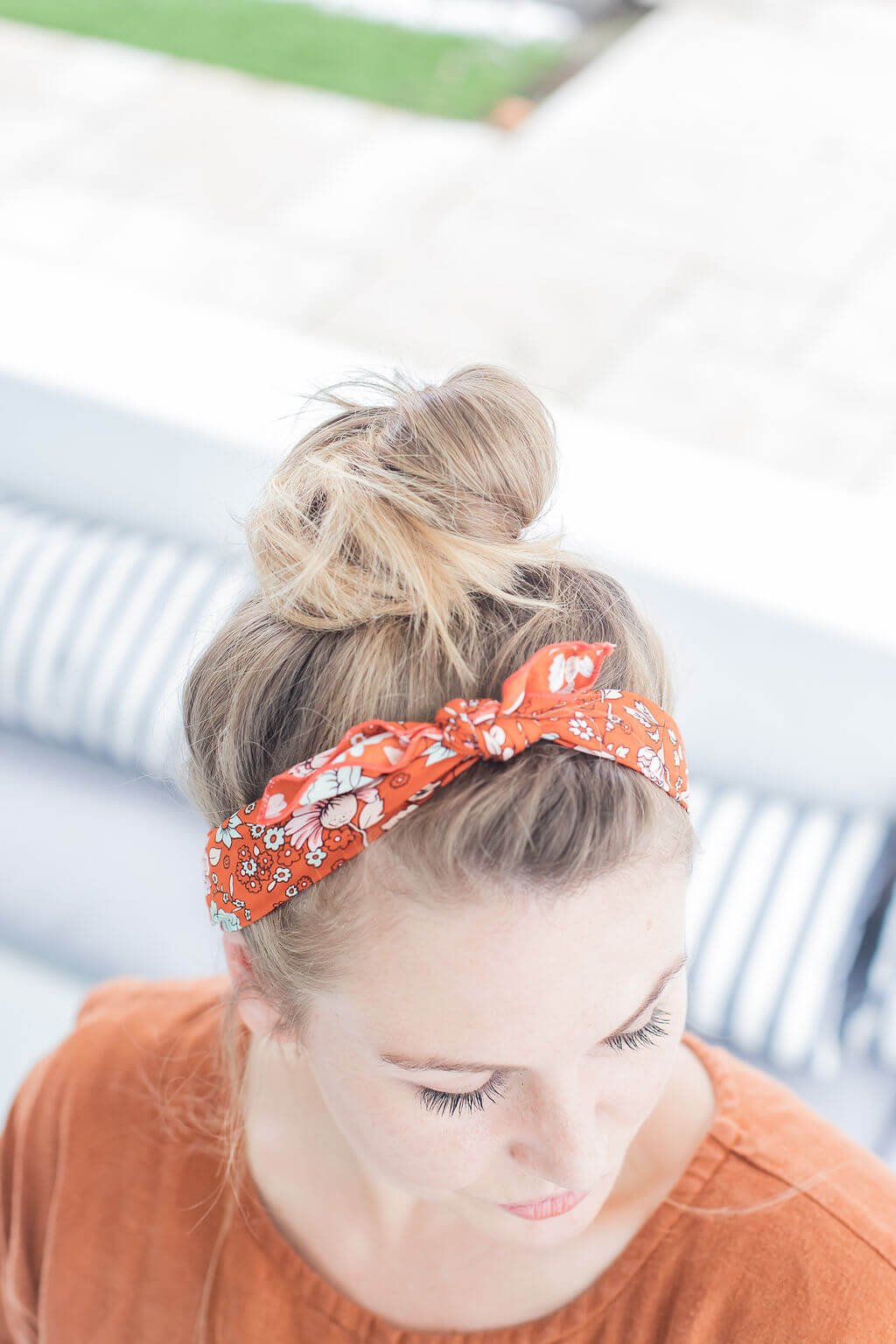 red floral top knot head scarf
