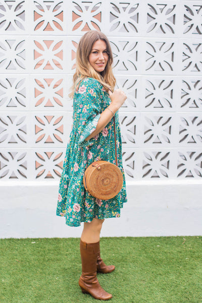 green flower tunic dress