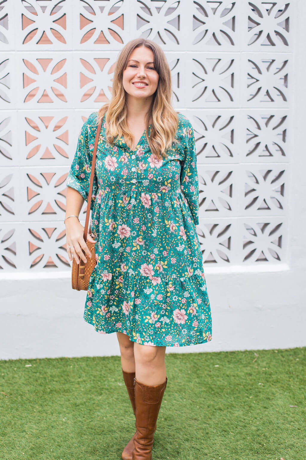 Green floral tunic dress