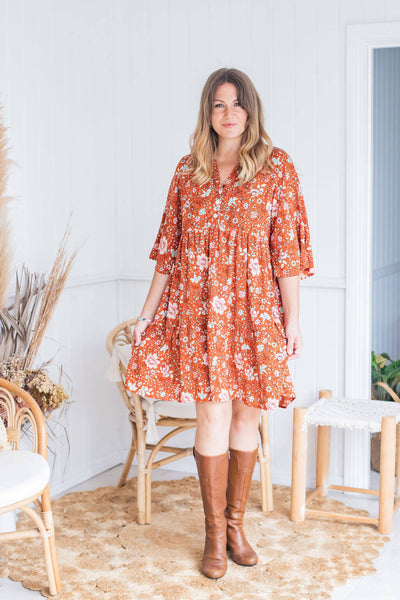 Rust Blossom Tunic Dress