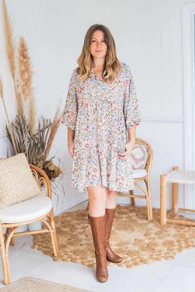 vintage blossom tunic dress