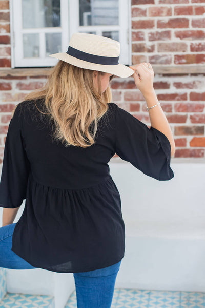 black boho blouse top