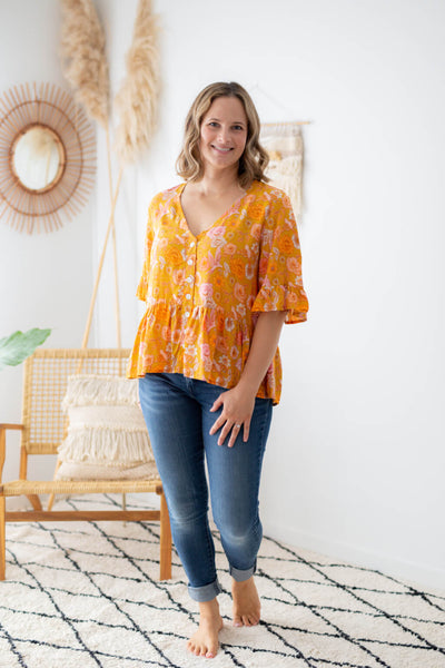 chloe blouse mustard poppy birds