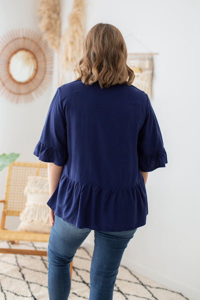 ruffle top in navy