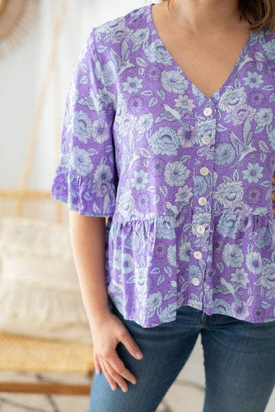 V neck blouse top in purple flowers