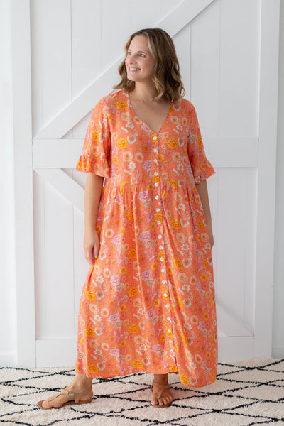chloe maxi dress coral poppy birds
