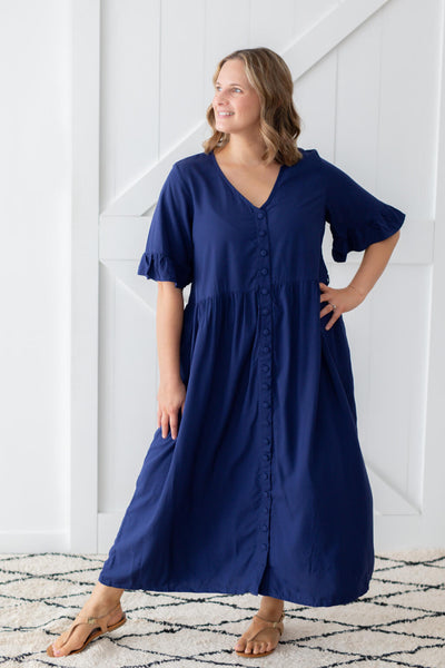 navy maxi dress with buttons