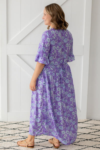 purple maxi dress with belt tie