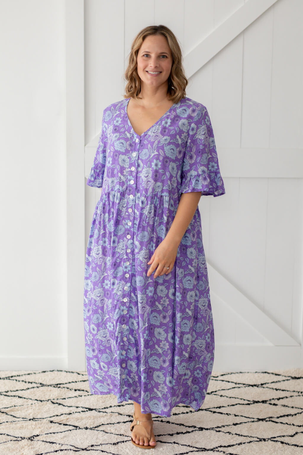 chloe maxi dress violet poppy birds