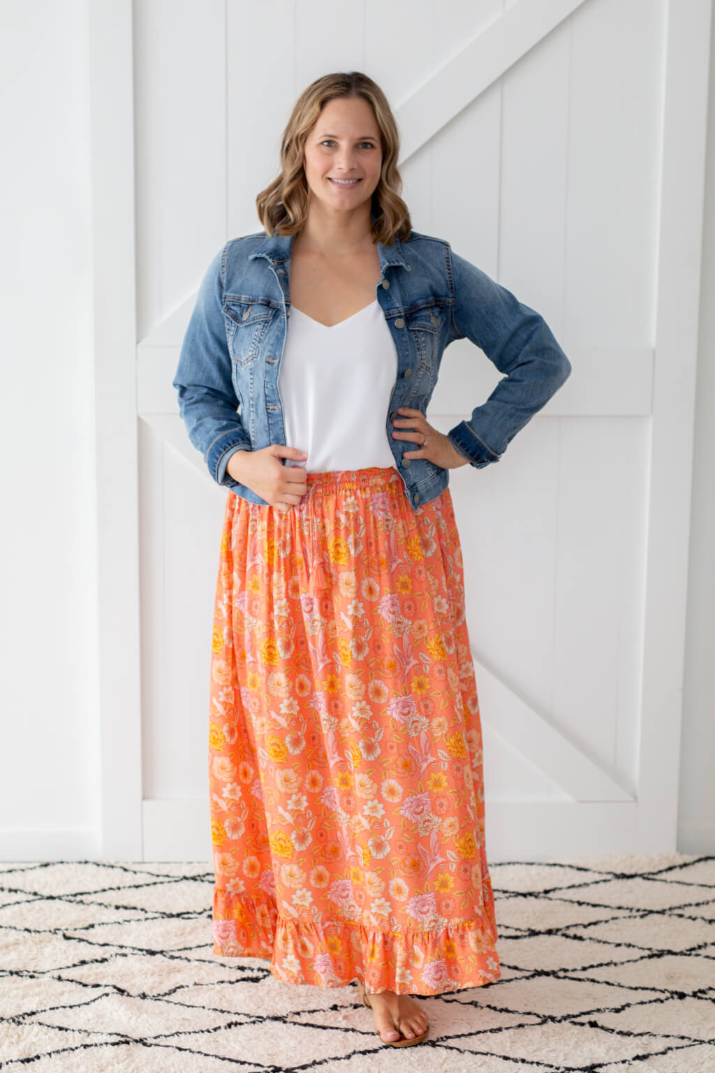 coral pink maxi skirt