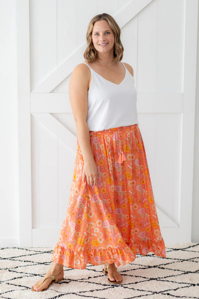 chloe maxi skirt coral poppy birds