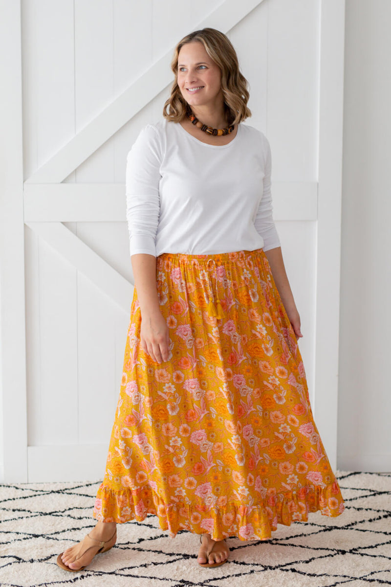 mustard maxi skirt by isle of summer