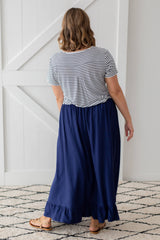 ruffle maxi skirt in navy