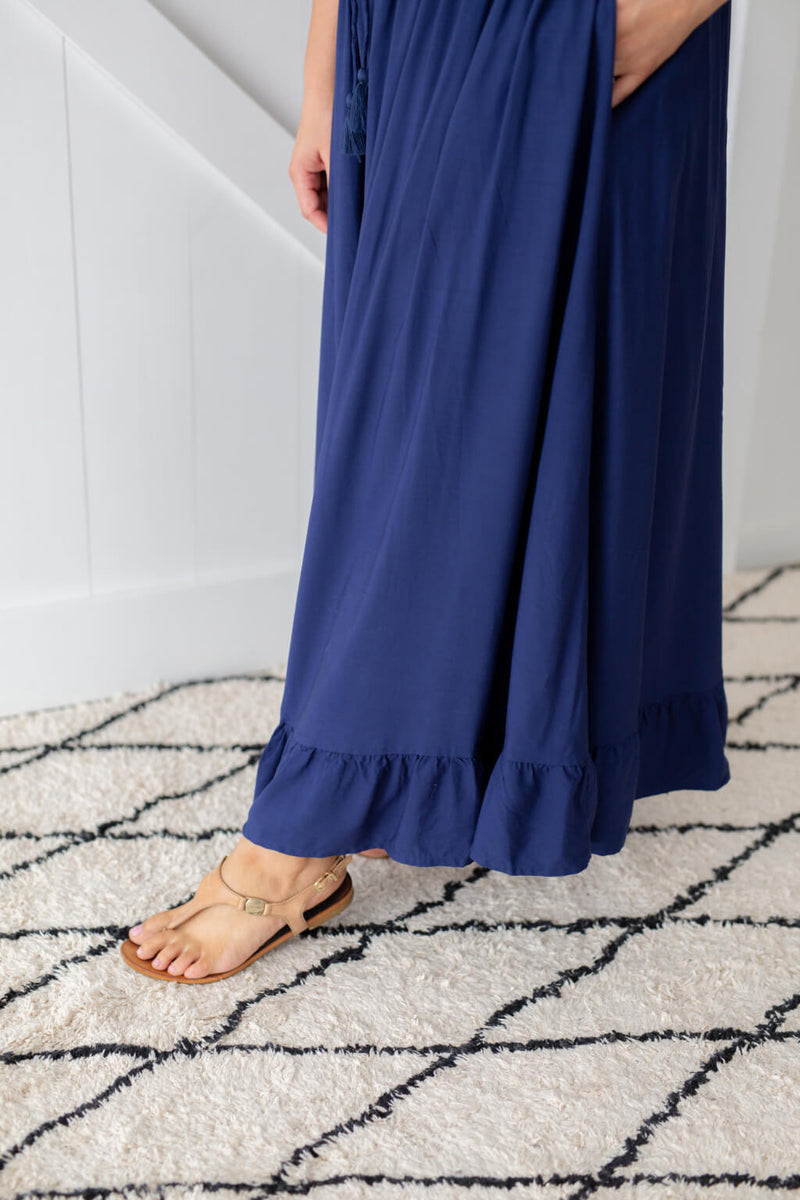 maxi skirt with ruffle finish