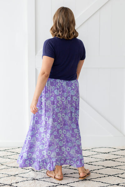 purple maxi skirt with flowers
