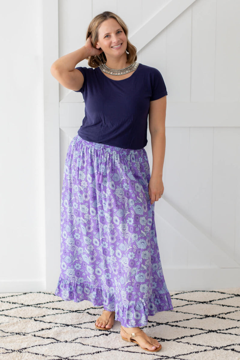 chloe maxi skirt violet poppy birds