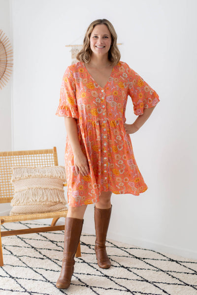 coral tunic dress with ruffle sleeve