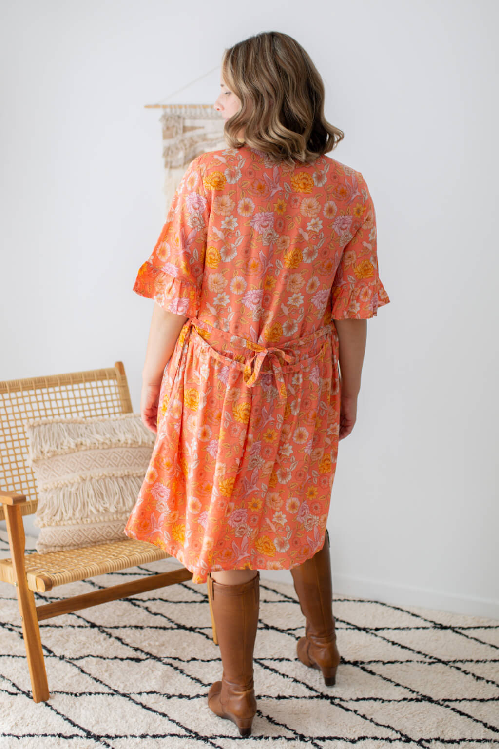 tunic dress with belt tie in coral