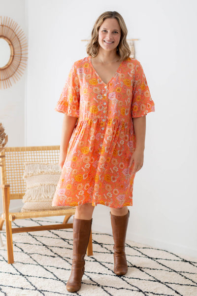 coral tunic dress with buttons