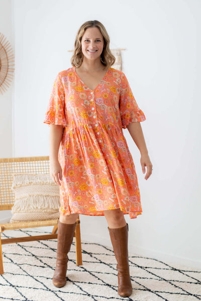 chloe tunic dress coral poppy birds