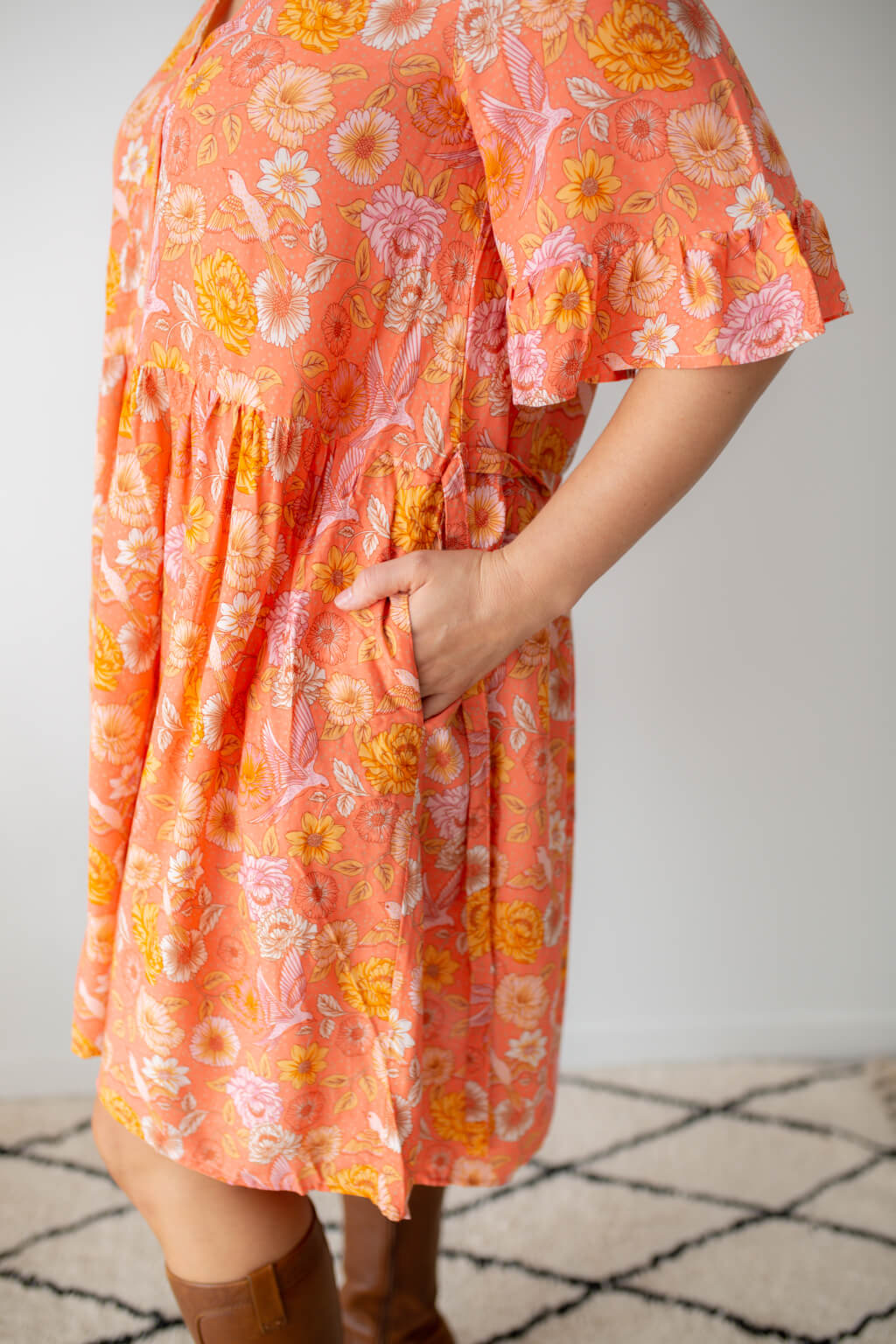 chloe tunic dress coral with pockets