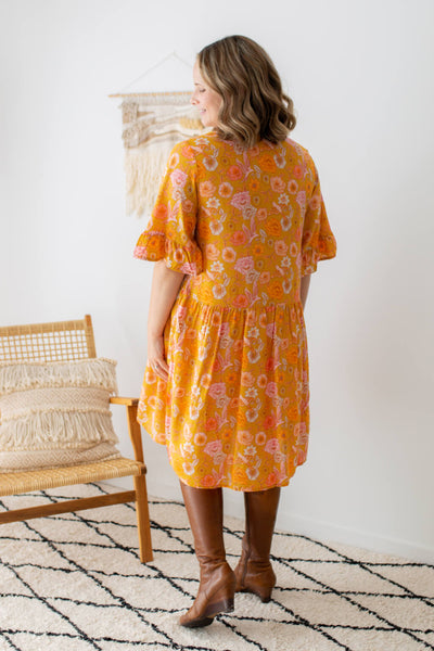 boho tunic dress in mustard floral