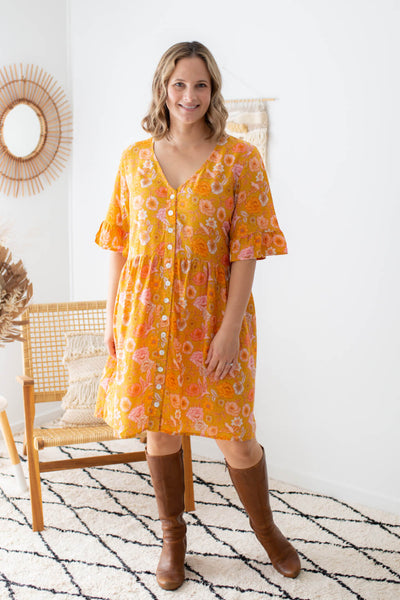 mustard poppy birds tunic dress