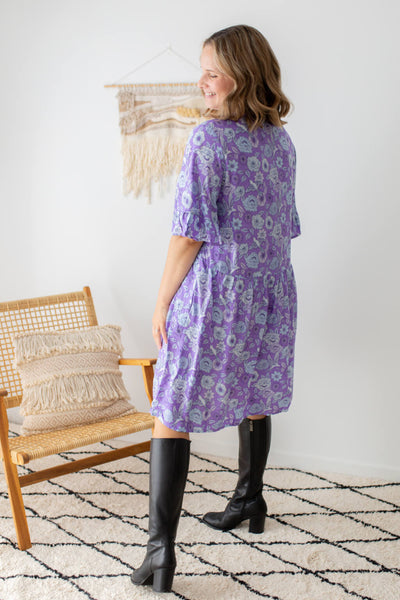 purple floral print dress