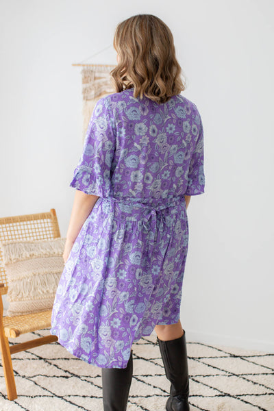tunic dress with belt in violet