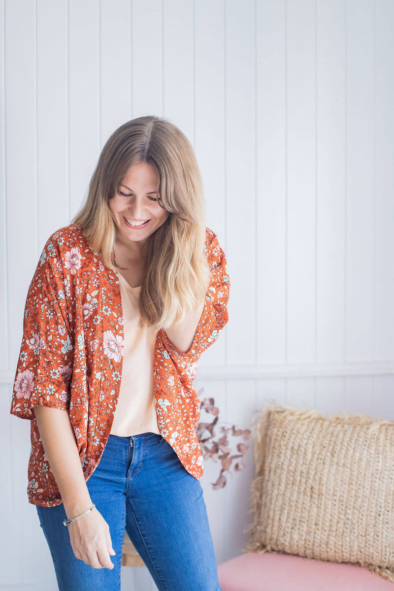 Cropped Cocoon Shrug - Rust Blossom