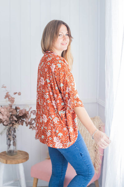 Floral blossom kimono cropped red