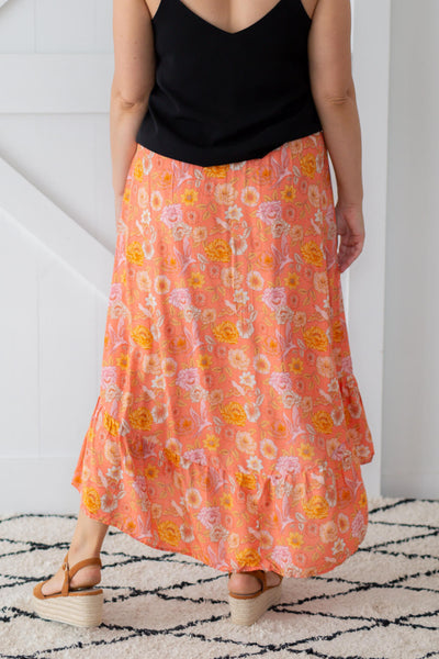 coral maxi skirt with ruffle details