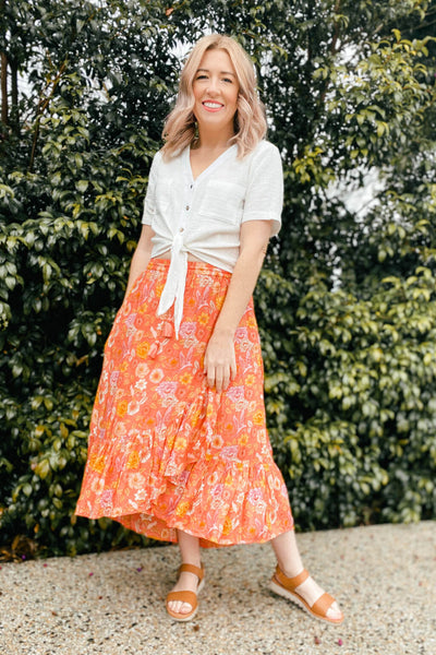 coral ruffle maxi skirt size s