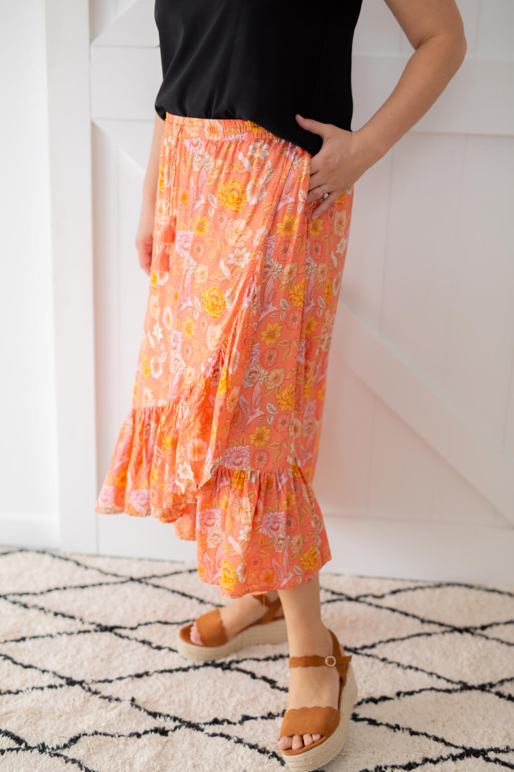 wrap boho skirt in coral pink
