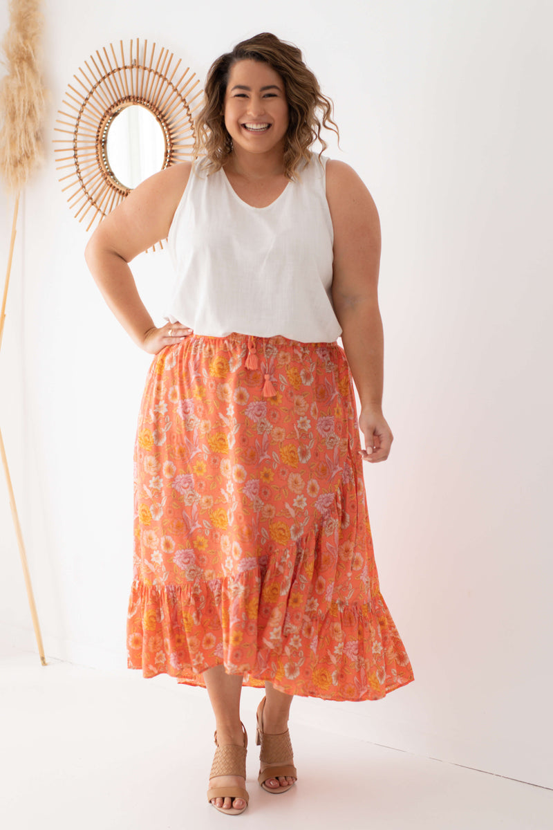 plus size maxi skirt coral