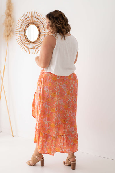 boho maxi skirt in coral