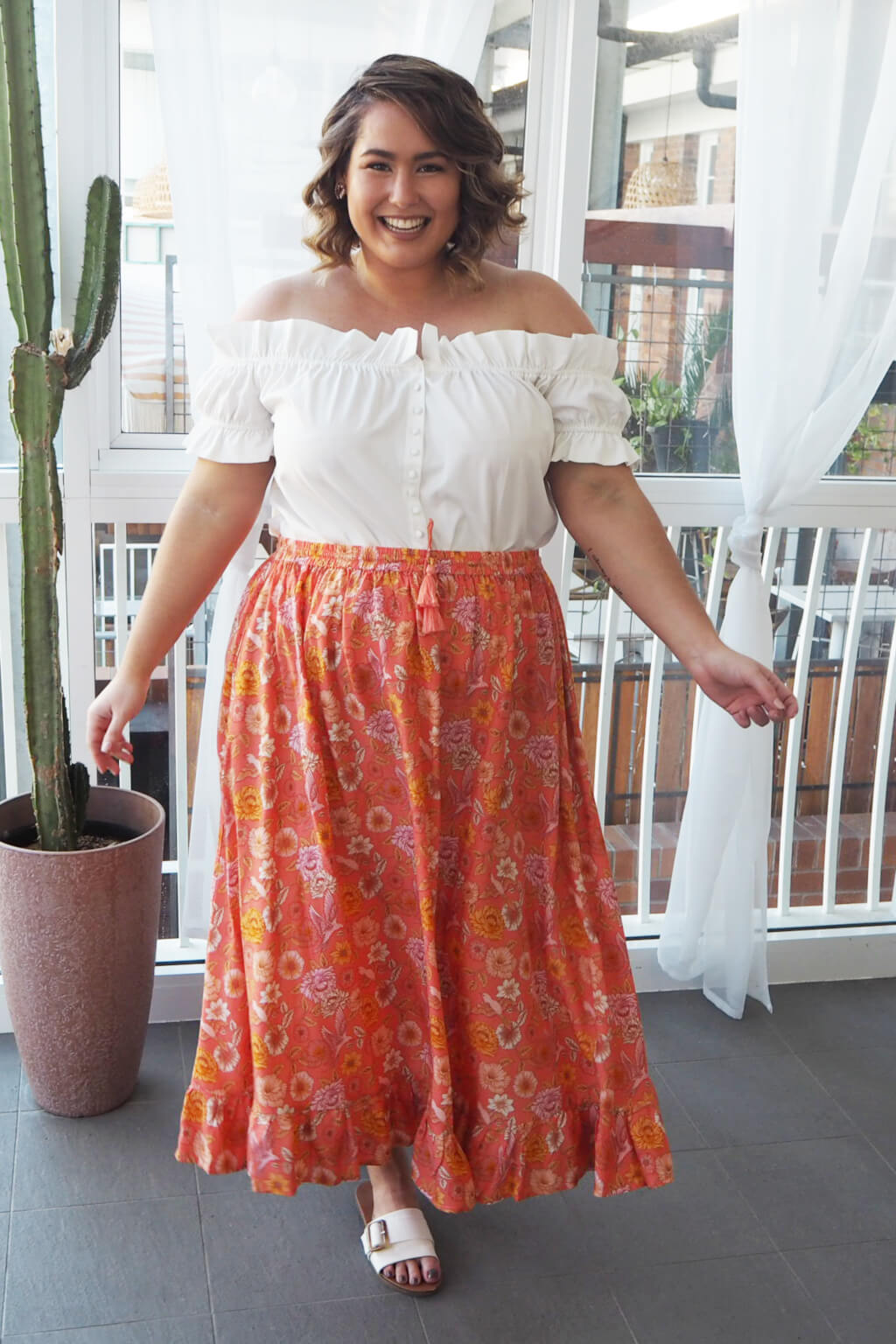 coral maxi skirt plus size