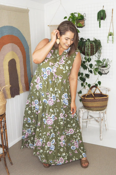 plus size maxi dress khaki floral