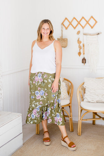 khaki boho maxi skirt with ruffle