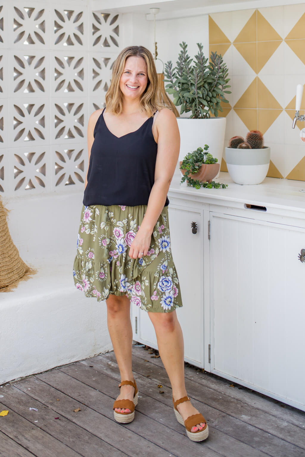 khaki floral mini skirt