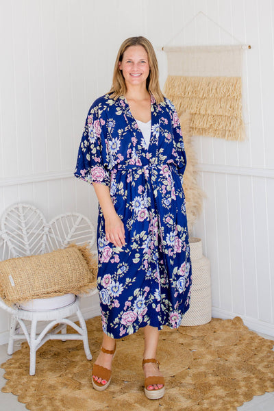 floral navy long robe