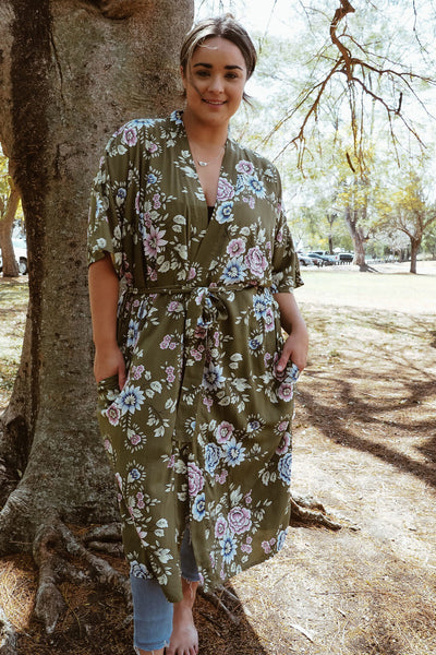 long robe khaki floral
