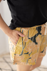 Loungewear Shorts <br> Gold Lotus Flower