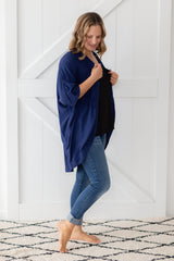 navy scoop shrug