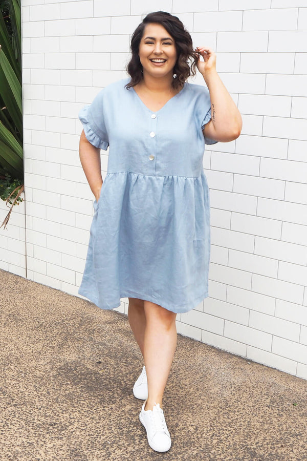 plus size blue linen dress