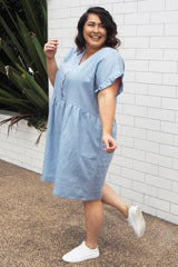 blue linen dress in plus size
