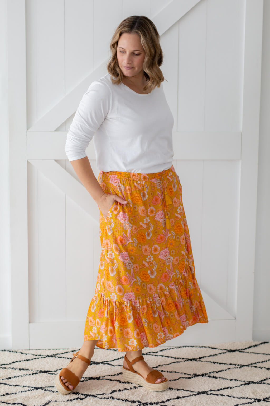 maxi skirt ruffle mustard colour