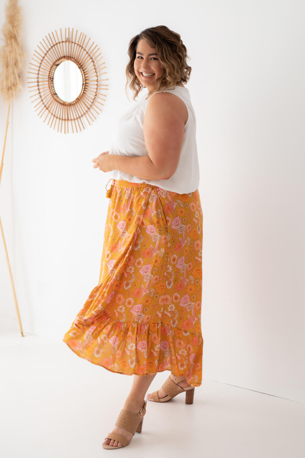 mustard plus size maxi skirt