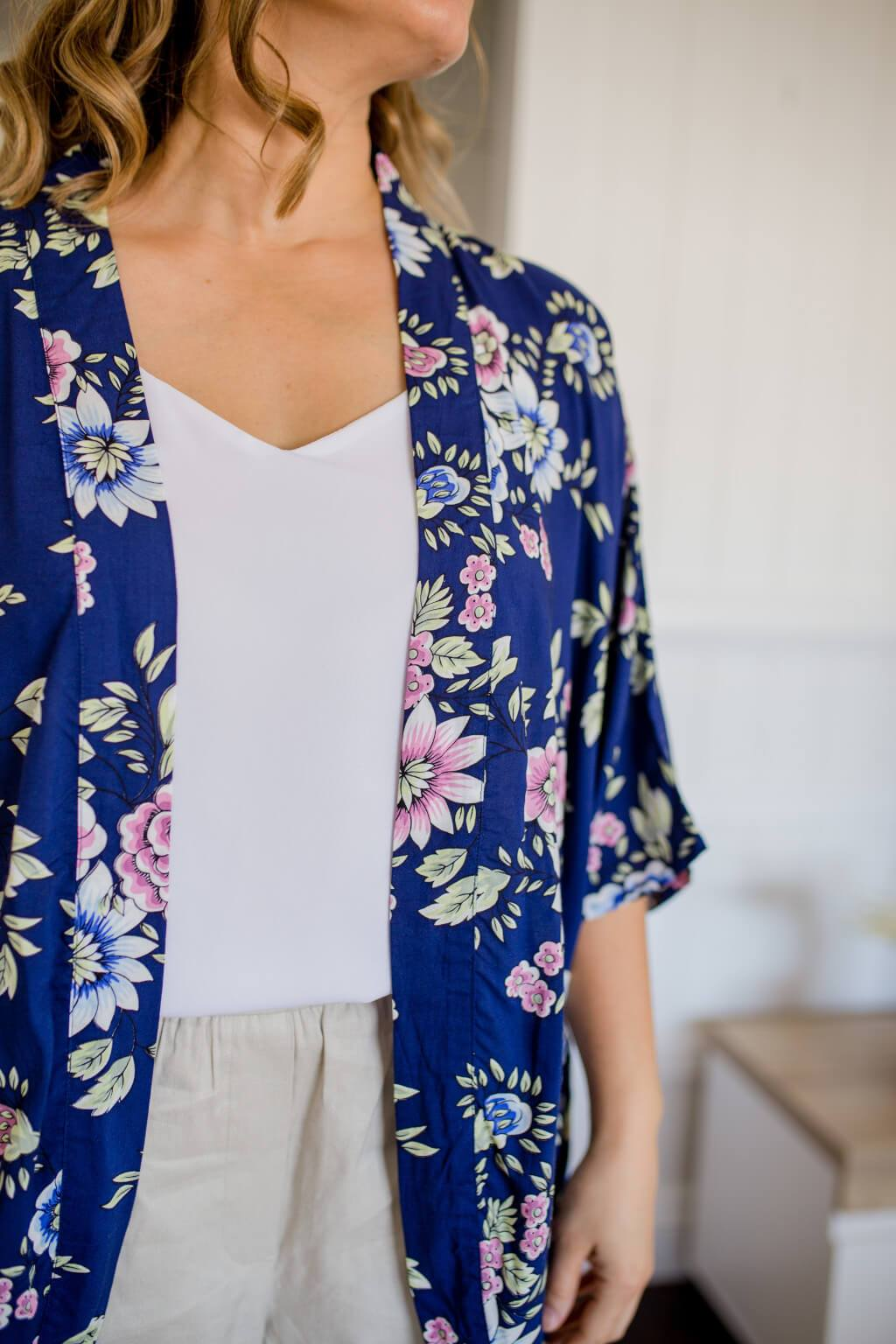close up of navy floral print