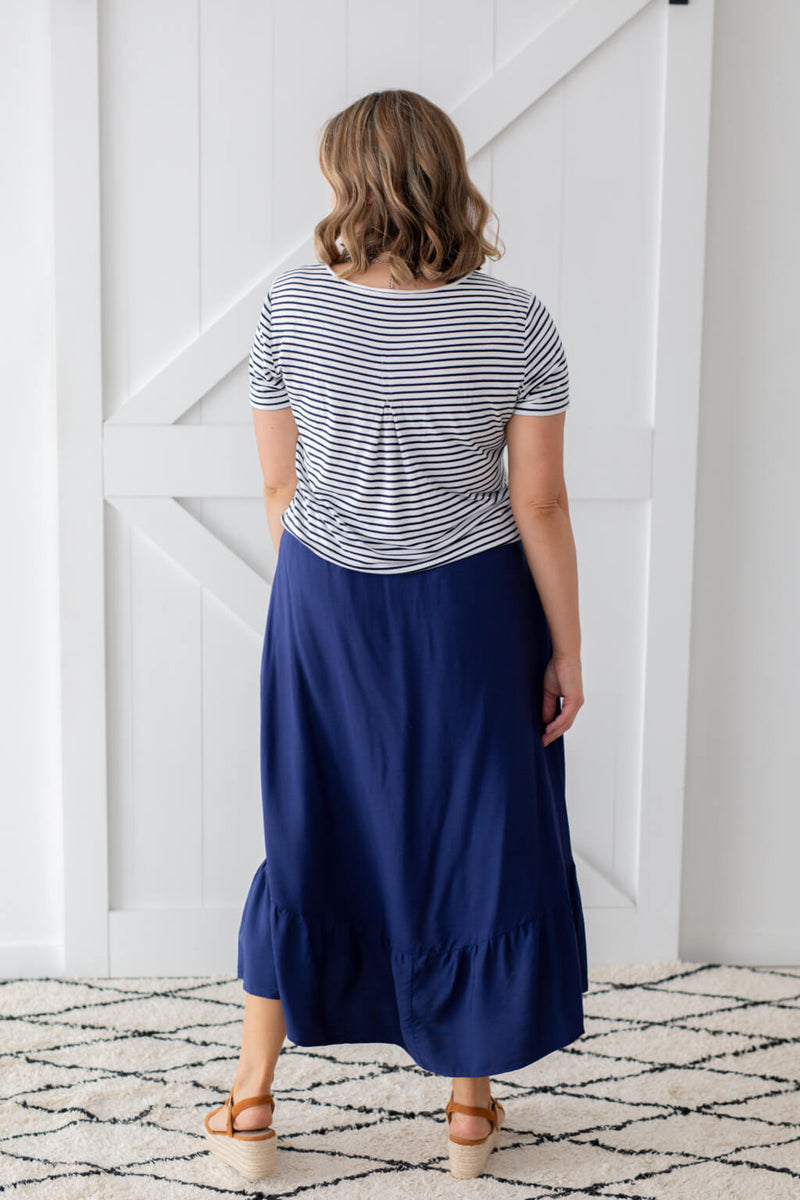 navy maxi skirt with ruffle
